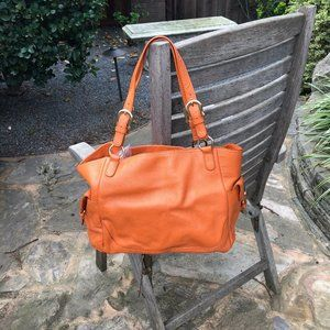 Talbots Orange Pebble Leather Shoulder Bag Purse